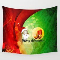 merry christmas Wall Tapestries featuring Merry christmas by nicky2342