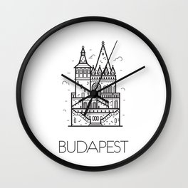 Budapest Hungary Black and White Wall Clock