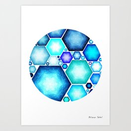 HEXAGONS IN CIRCLE Art Print