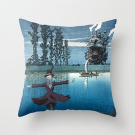 Howl's castle and the scarecrow japanese mashup Throw Pillow