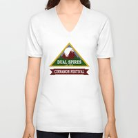 psych V-neck T-shirts featuring Psych - Dual Spires Cinnamon Festival by Fried Egg