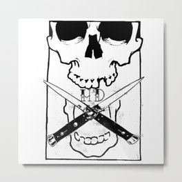 Switchblade Skull Metal Print