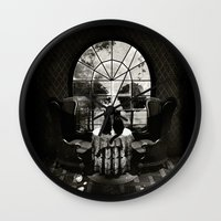 ali Wall Clocks featuring Room Skull B&W by Ali GULEC