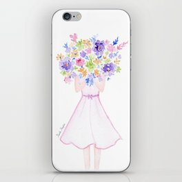 GIRL HOLDING BOUQUET OF FLOWERS / THANK YOU / CONGRATULATIONS / BIRTHDAY iPhone Skin