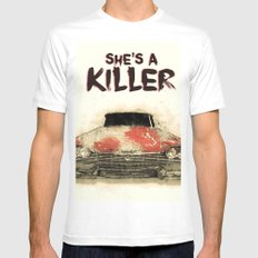 She's a Killer - 1957 Plymouth Fury White MEDIUM Mens Fitted Tee
