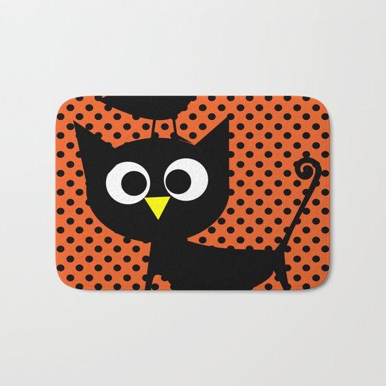 Black cat and raven Bath Mat