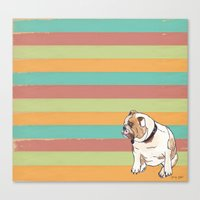 bulldog Canvas Prints featuring Bulldog by Tammy Kushnir