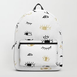 Funny fashion gold and black cute eyes pattern Backpack