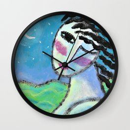 Beautiful Moon Abstract Acrylic Painting Wall Clock