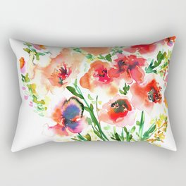 Bouquet Red Rectangular Pillow