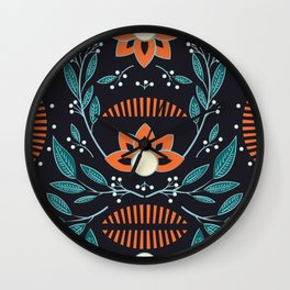 Dark flora 001 Wall Clock