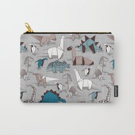 Origami dino friends // grey linen texture blue dinosaurs Carry-All Pouch