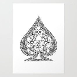 Ace of Spades Black and White Art Print