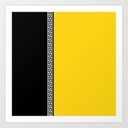 Greek Key 2 - Yellow and Black Art Print