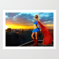 supergirl Art Prints featuring Supergirl by Shana-e