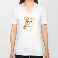 bread V-neck T-shirts featuring Bread Cat by Leanne Engel
