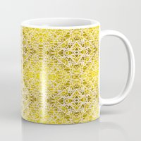 gold foil Mugs featuring Random rope on gold foil by Su G