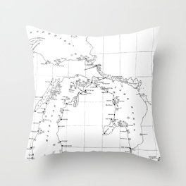 Vintage Map of Shipwrecks of the Great Lakes Throw Pillow