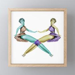Space Pin Up Girls Framed Mini Art Print