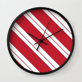 Tilted Classic Red Candy Cane Wall Clock