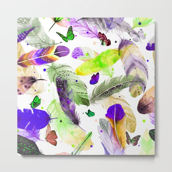 feathers and butterflies Metal Print