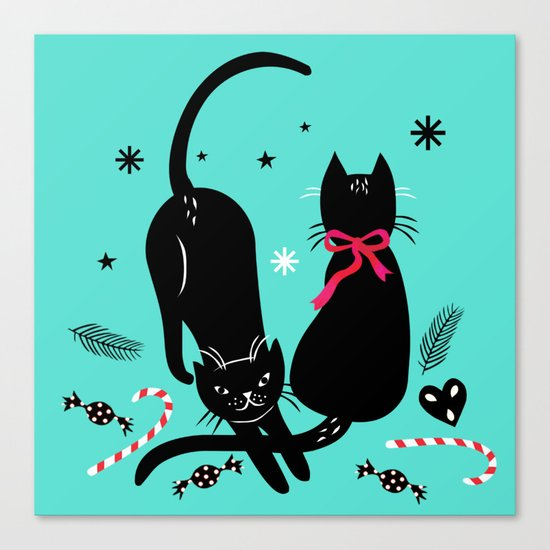Two black cats Canvas Print