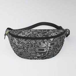 Video Gamer Pattern Black, White and Grit Fanny Pack
