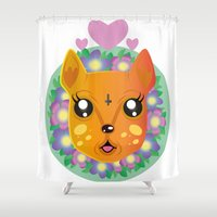 bambi Shower Curtains featuring Bambi by hannahroset