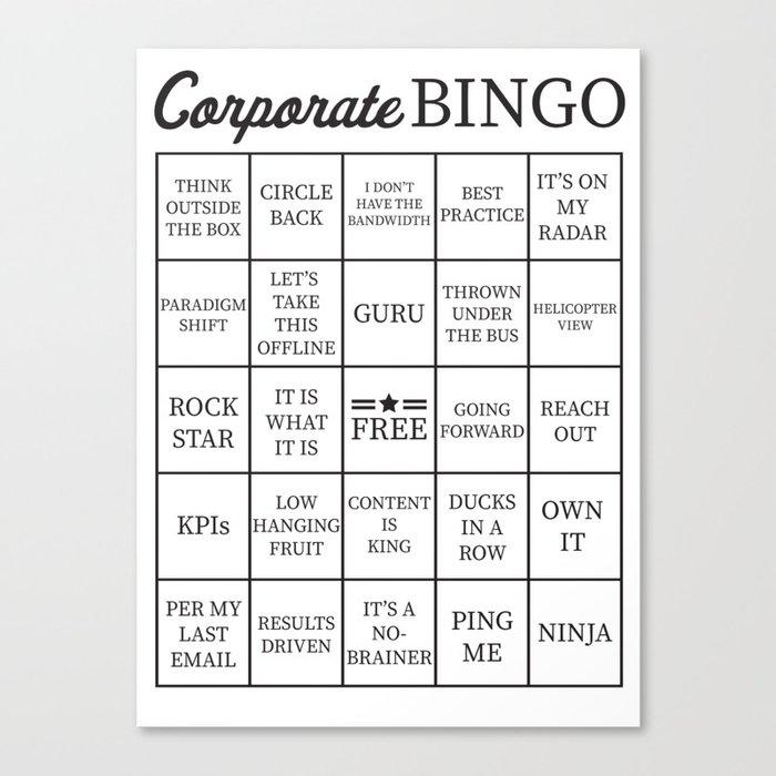 corporate jargon buzzword bingo card canvas print by itsrturn