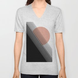 Rising Sun Minimal Japanese Abstract White Black Rose Unisex V-Neck