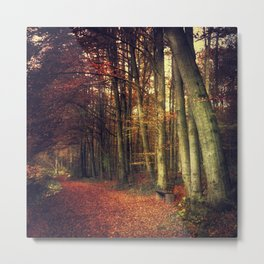 Fall Forest Reds Metal Print
