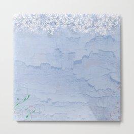 Rustic pale blue parchment paper Metal Print