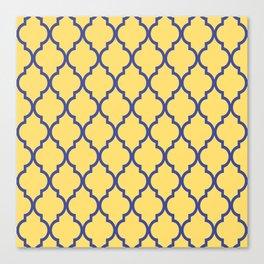 Classic Quatrefoil Lattice Pattern 737 Blue and Yellow Canvas Print