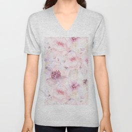 Pastel Summer Flower Watercolor Pattern Unisex V-Neck