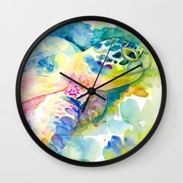 Sea Turtle Watercolor Illustration by Julie Lehite, Julesofthesea Wall Clock