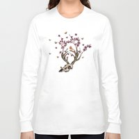 animal skull Long Sleeve T-shirts featuring Animal Skull and Butterflies by Paula Belle Flores