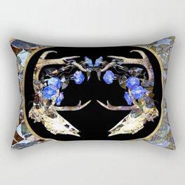 Diamond Pattern Deer Skull and Morning Glory Round Rectangular Pillow