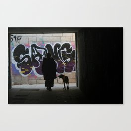 Woman and dog, graffiti Canvas Print