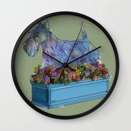Animals in Gardens: Scotty in a Flower Box Wall Clock