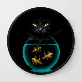 Black Cat Goldfish Wall Clock