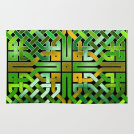 Green Celtic  Knot Square Rug