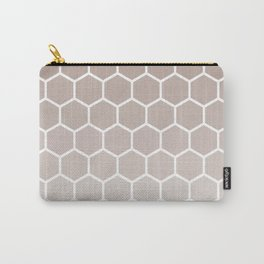 Neutral beige gradient honey comb pattern Carry-All Pouch