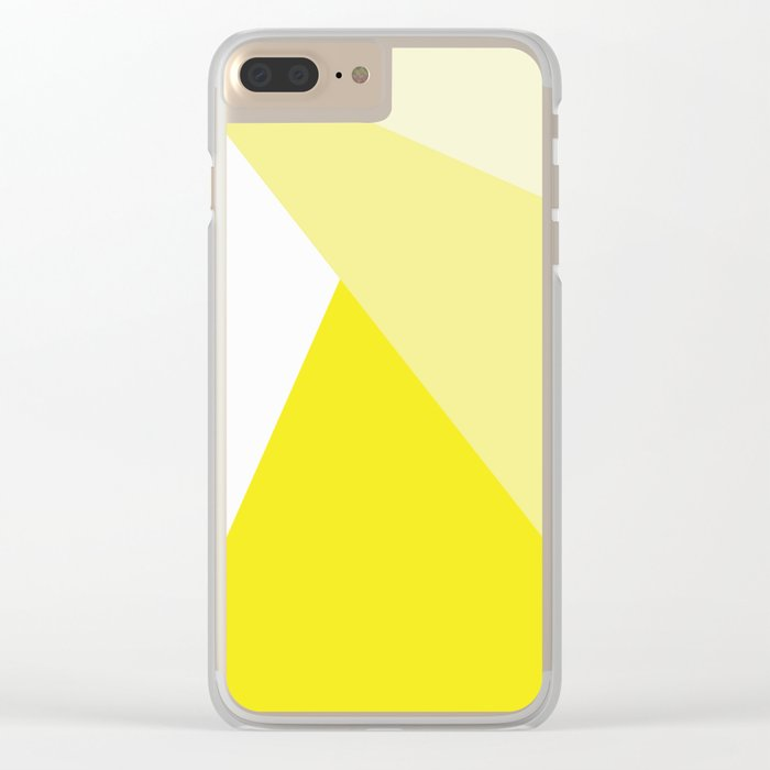 Simple Geometric Triangle Pattern- White on Yellow - Mix & Match with Simplicity of life Clear iPhone Case