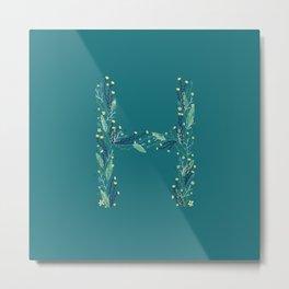 Turquoise flowers alphabet H Metal Print