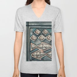 Five bread and two fish religious painting Unisex V-Neck