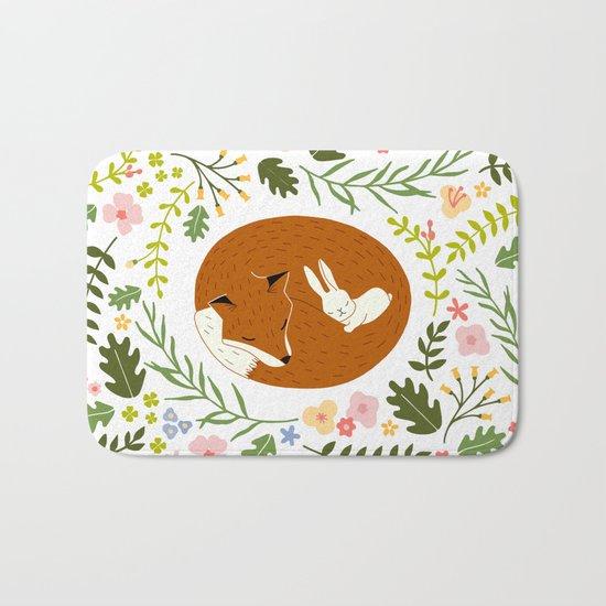 Friendship in Wildlife_Fox and Bunny_Bg White Bath Mat