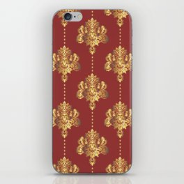 Gold damask flowers and pearls on red background iPhone Skin