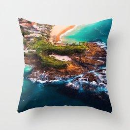 Sky view of a special beach Throw Pillow