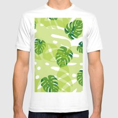 green monstera jungle MEDIUM Mens Fitted Tee White