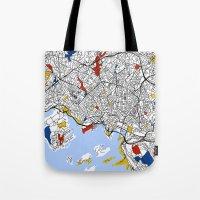 oslo Tote Bags featuring Oslo mondrian by Mondrian Maps